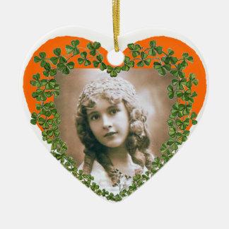SAINT PATRICK'S SHAMROCK HEART PHOTO TEMPLATE Double-Sided HEART CERAMIC CHRISTMAS ORNAMENT