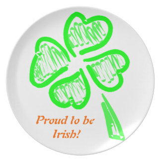Saint Patrick's Shamrock Proud to Be Irish Plate