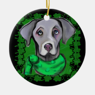 SAINT PATTY WEIMARANER CERAMIC ORNAMENT