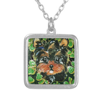 SAINT PATTY YORKIE POO SILVER PLATED NECKLACE