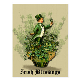 Saint Patty's Day Gent- Irish Blessings- Postcard