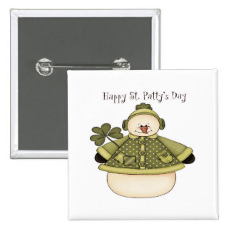 Saint Patty's Day Snowman 1 2 Inch Square Button