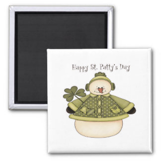 Saint Patty's Day Snowman 1 2 Inch Square Magnet