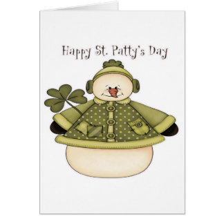 Saint Patty's Day Snowman 1 Greeting Card