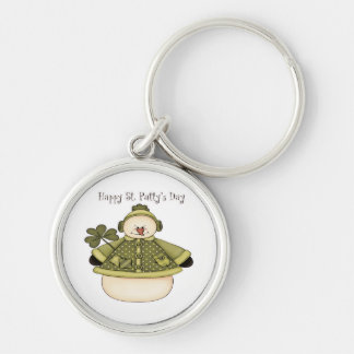 Saint Patty's Day Snowman 1 Silver-Colored Round Keychain
