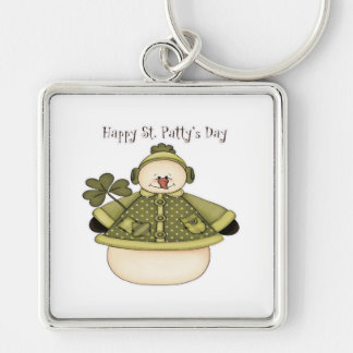 Saint Patty's Day Snowman 1 Silver-Colored Square Keychain