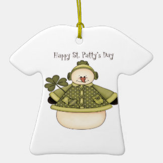 Saint Patty's Day Snowman 1 Double-Sided T-Shirt Ceramic Christmas Ornament
