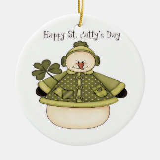 Saint Patty's Day Snowman 1 Double-Sided Ceramic Round Christmas Ornament
