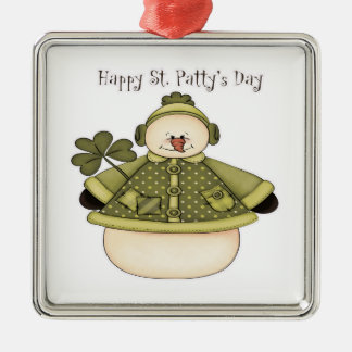 Saint Patty's Day Snowman 1 Square Metal Christmas Ornament