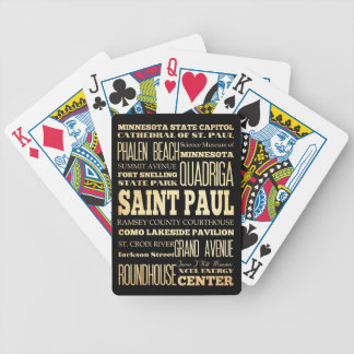 Saint Paul City of Minnesota State Typography Art Bicycle Playing Cards
