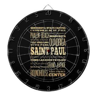 Saint Paul City of Minnesota State Typography Art Dartboard