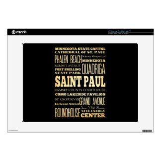 """Saint Paul City of Minnesota State Typography Art Decal For 15"""" Laptop"""
