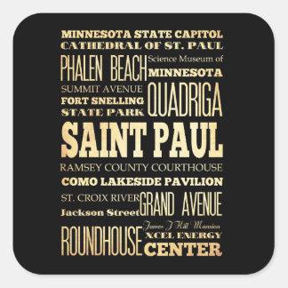 Saint Paul City of Minnesota State Typography Art Square Sticker