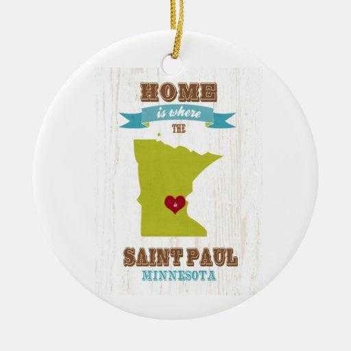 Saint Paul, mapa de Minnesota - casero está donde Adorno Navideño Redondo De Cerámica