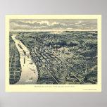 Saint Paul, mapa panorámico del manganeso - 1893 Posters