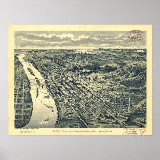 Saint Paul Minnesota 1893 Antique Panoramic Map Print