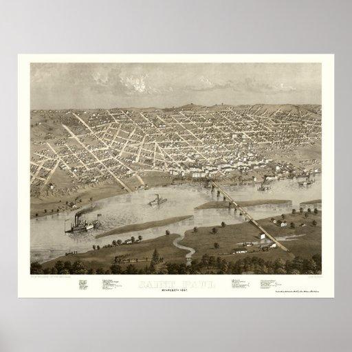 Saint Paul, MN Panoramic Map - 1867 Print