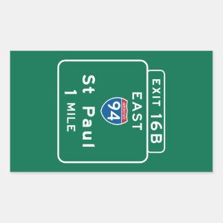 Saint Paul, MN Road Sign Rectangular Sticker