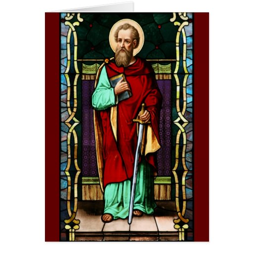 Saint Paul (Paul the Apostle) Stained Glass Art Greeting Cards