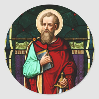Saint Paul (Paul the Apostle) Stained Glass Art Classic Round Sticker