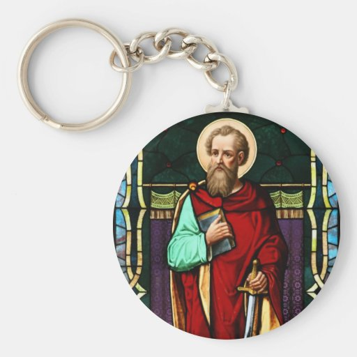Saint Paul (Paul the Apostle) Stained Glass Art Basic Round Button Keychain