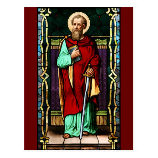 Saint Paul (Paul the Apostle) Stained Glass Art Postcard