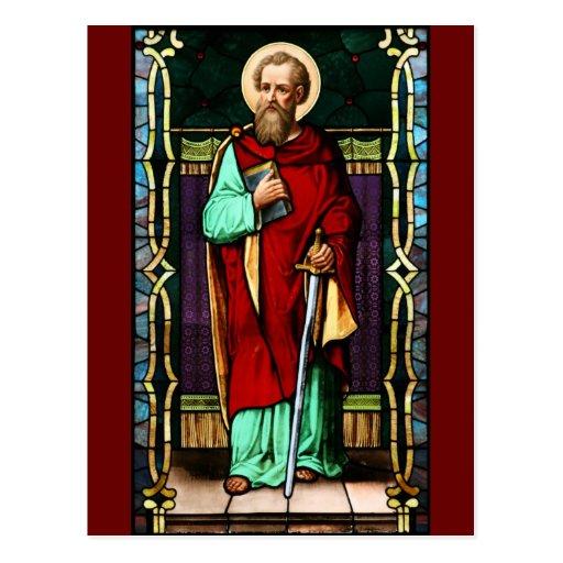 Saint Paul (Paul the Apostle) Stained Glass Art Postcards