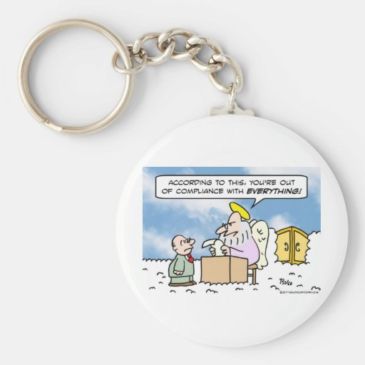 saint peter heaven out of compliance basic round button keychain