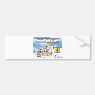 saint peter heaven out of compliance bumper sticker