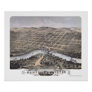 Saint Peter, MN Panoramic Map - 1870 Poster