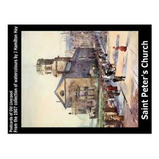 Saint Peter's Church, Seel Street, Liverpool. Postcard