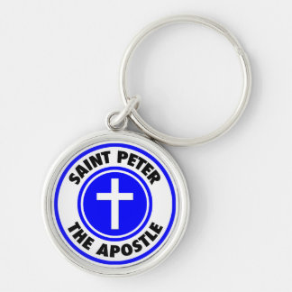 Saint Peter the Apostle Silver-Colored Round Keychain
