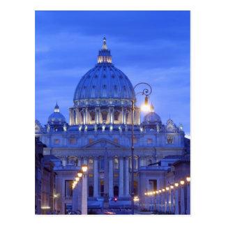Saint peters bascillia  evening dusk view postcard