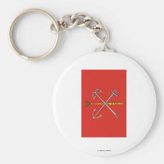 Saint Petersburg Flag Basic Round Button Keychain