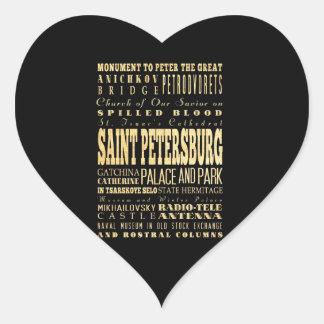 Saint Petersburg of Russia Typography Art Heart Sticker