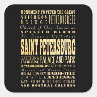 Saint Petersburg of Russia Typography Art Square Sticker