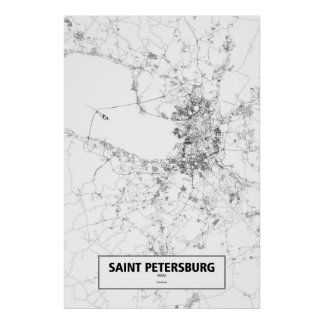 Saint Petersburg, Russia (black on white) Poster
