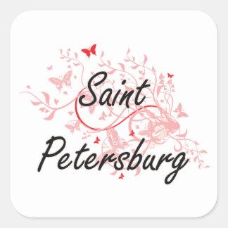 Saint Petersburg Russia City Artistic design with Square Sticker