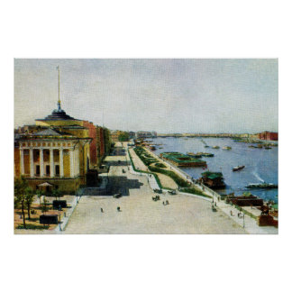 Saint Petersburg Russia Neva river and Admiralty Poster