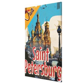 Saint Petersburg, Russia Vintage Travel Poster Canvas Print