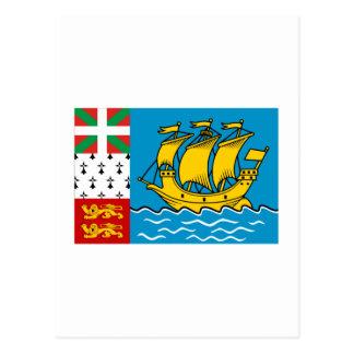 Saint-Pierre and Miquelon Flag Postcard
