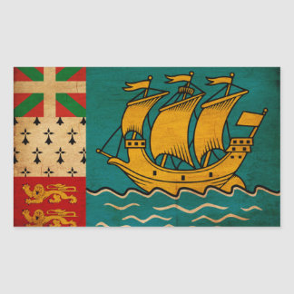 Saint Pierre and Miquelon Flag Rectangular Sticker