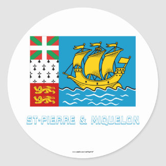 Saint-Pierre and Miquelon Flag with Name Classic Round Sticker