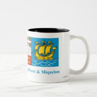 Saint-Pierre and Miquelon Flag with Name Two-Tone Coffee Mug