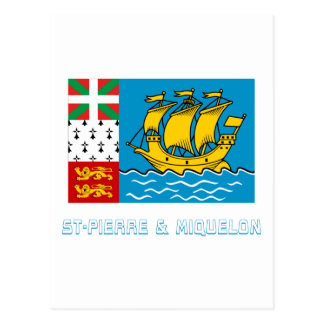 Saint-Pierre and Miquelon Flag with Name Postcard