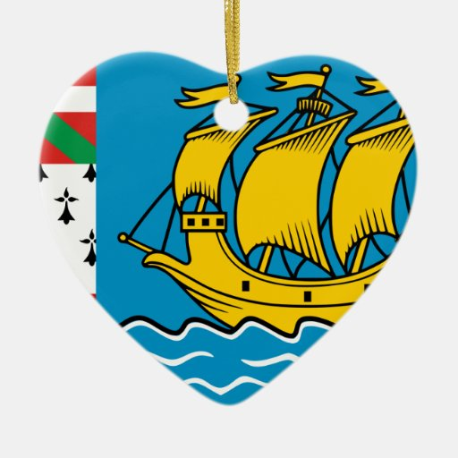 Saint Pierre And Miquelon, France flag Christmas Tree Ornaments