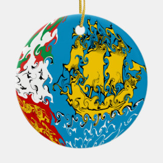 Saint Pierre and Miquelon Gnarly Flag Ceramic Ornament
