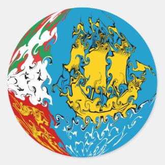 Saint Pierre and Miquelon Gnarly Flag Classic Round Sticker
