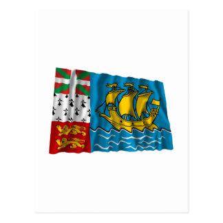 Saint-Pierre and Miquelon Waving Flag Postcard