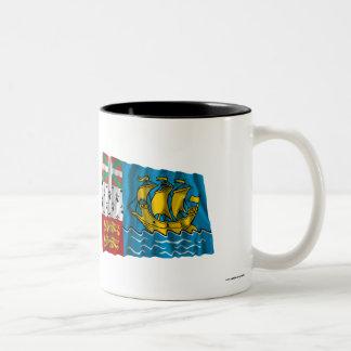Saint-Pierre and Miquelon Waving Flag Two-Tone Coffee Mug